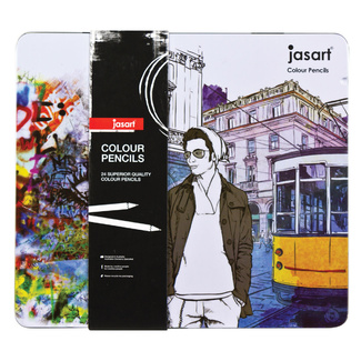 Jasart Colouring Pencil Tin Of 24 - DISCONTINUED