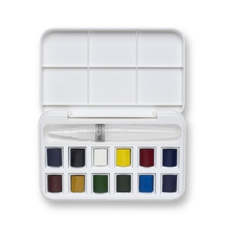Winsor & Newton Cotman - Watercolour Paint and Brush Pen Set 12 x 1/2 Pan