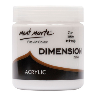 Mont Marte Dimension Acrylic Paint 250ml Pot - Zinc White
