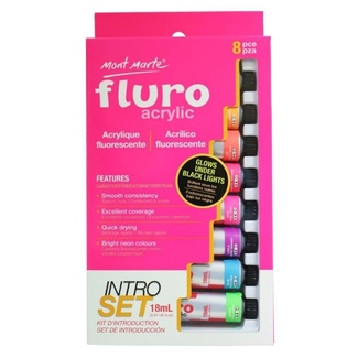 Mont Marte Intro Paint Set - Fluro Acrylic Paint 8pc x 18ml - Glows Under Black Light
