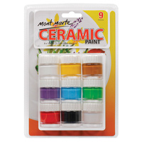 Mont Marte Ceramic Paint Set - 8 x 10ml Colours & 1 x 10ml Medium