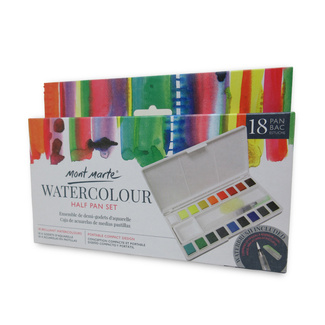 Mont Marte Premium Paint Set - Watercolour Half Pan w/Water Brush 18 Pan