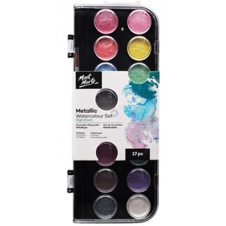 Mont Marte Signature Paint Set - Metallic Watercolour Cake 17pc