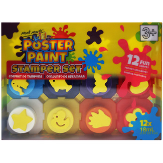 Mont Marte Kids - Poster Paint Set w/Stamper 12pc x 18ml