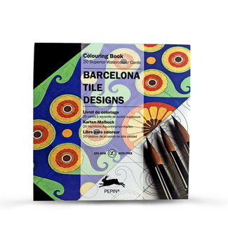 Pepin Artist's Adult Colouring Card 20 Designs - Barcelona Tile Designs