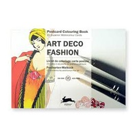Pepin Artist's Postcard Adult Colouring Book 20 Designs - Art Deco Fashion