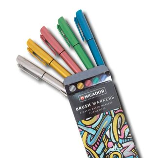 Micador Brush Markers - Metallic Collection 5pc