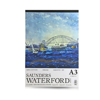 Saunders Waterford Watercolour Pad A3 300gsm 15 Sheet - Smooth (Hot Pressed)