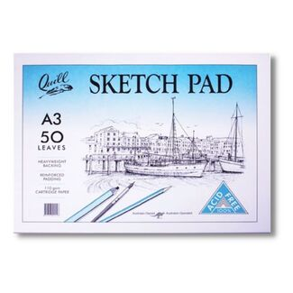 Quill Cartridge Paper Sketch Pad A3 110gsm 50 Sheets