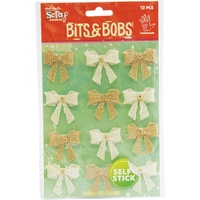 Mont Marte Bits & Bobs - Beaded Bows Natural & Cream 12pce