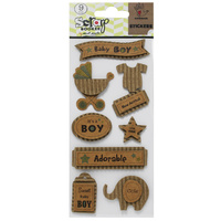 Mont Marte Scrapbooking Stickers - Corrugated Kraft Baby Boy 9pce - DISCONTINUED