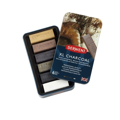 Derwent XL Charcoal Block Set - Tin Of 6