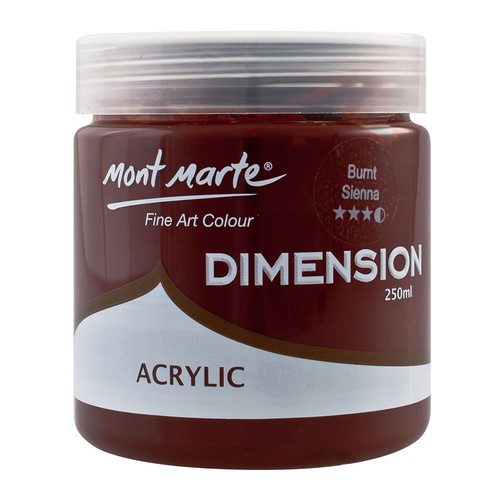 Mont Marte Dimension Acrylic Paint 250ml Pot - Burnt Sienna