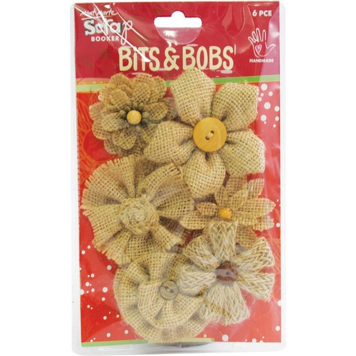 Mont Marte Bits & Bobs - Natural Fabric Blooms 6pce