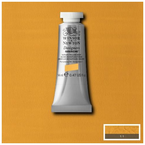 Winsor & Newton Designers' Gouache Colour 14ml - Naples Yellow Deep